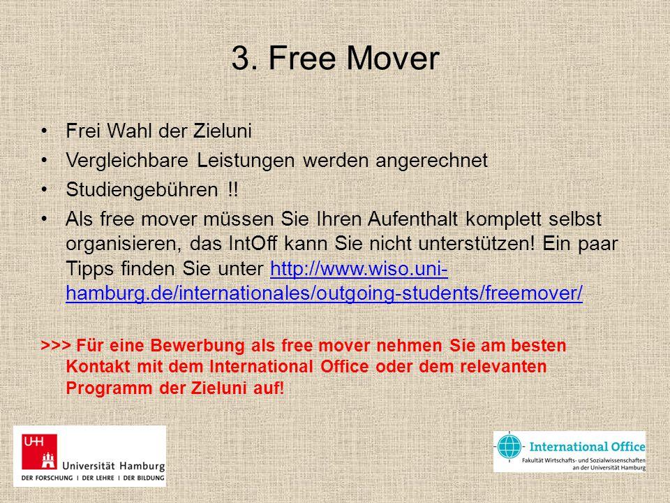 3. Free Mover Frei Wahl der Zieluni Vergleichbare Leistungen werden angerechnet Studiengebühren !! Als free mover müssen Sie Ihren Aufenthalt komplett