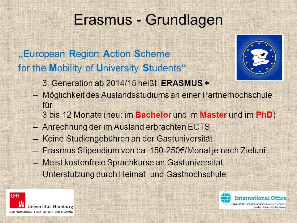 """Erasmus - Grundlagen """"European Region Action Scheme for the Mobility of University Students"""" –3. Generation ab 2014/15 heißt: ERASMUS + –Möglichkeit d"""