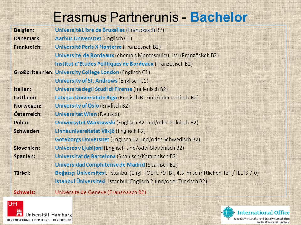 Erasmus Partnerunis - Bachelor Belgien: Université Libre de Bruxelles (Französisch B2) Dänemark: Aarhus Universitet (Englisch C1) Frankreich: Universi
