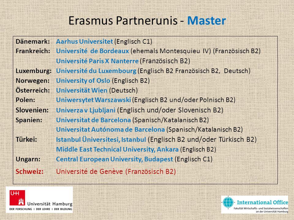 Erasmus Partnerunis - Master Dänemark: Aarhus Universitet (Englisch C1) Frankreich: Université de Bordeaux (ehemals Montesquieu IV) (Französisch B2) U