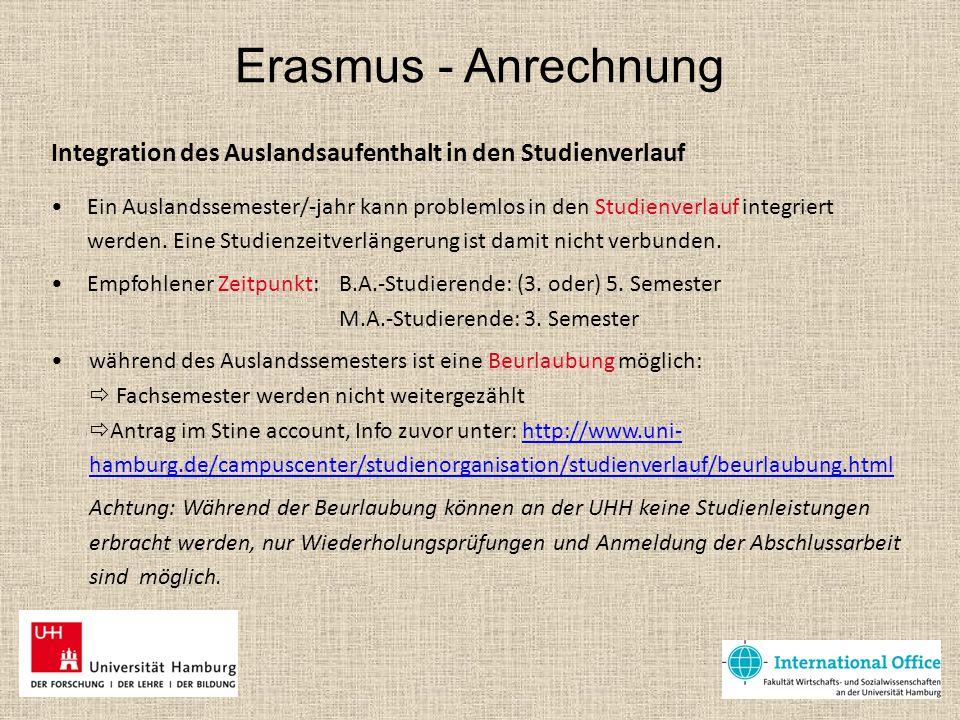 Erasmus - Anrechnung Anrechnung von Auslandsleistungen An den Partnerhochschulen gilt wie an der UHH das ECTS (European Credit Transfer System): pro Semester sind möglichst 30 ECTS-Leistungspunkte zu erzielen (kein Muss).