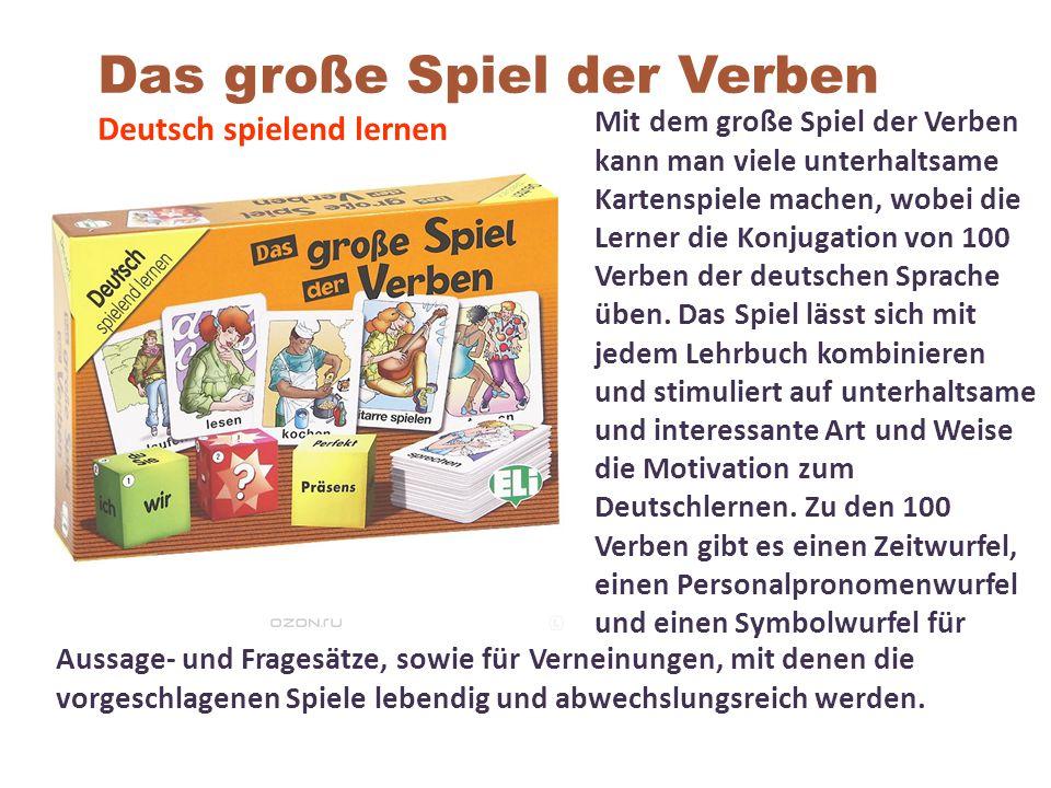 Mit dem große Spiel der Verben kann man viele unterhaltsame Kartenspiele machen, wobei die Lerner die Konjugation von 100 Verben der deutschen Sprache üben.