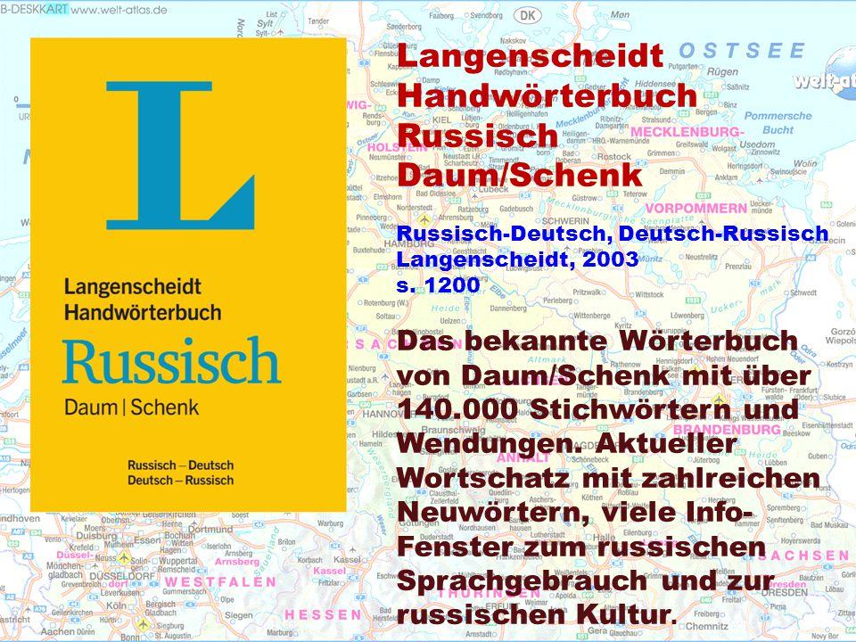 Langenscheidt Handwörterbuch Russisch Daum/Schenk Russisch-Deutsch, Deutsch-Russisch Langenscheidt, 2003 s.