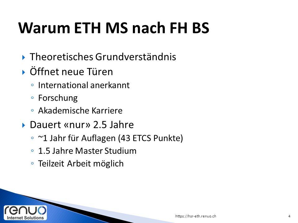  «Die ETH bietet eine breite Palette von verschiedenen Vertiefungsrichtungen an.