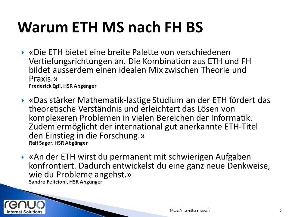  «Die ETH bietet eine breite Palette von verschiedenen Vertiefungsrichtungen an. Die Kombination aus ETH und FH bildet ausserdem einen idealen Mix zw