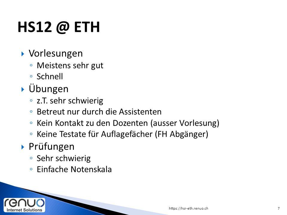  8-10 Vorlesung Datenbanken  10-12 Übungen vorbereiten (D&A)  12-13 Mittagessen Mensa (ETH, Asia, Uni, …)  13-15 Algorithmus programmieren (D&A)  15-17 Übungen D&A  … (Open End) https://hsr-eth.renuo.ch8 Ein Studientag (13.03.2013)