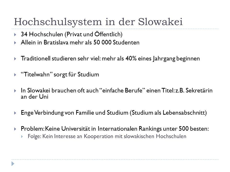Hochschulsystem in der Slowakei  34 Hochschulen (Privat und Öffentlich)  Allein in Bratislava mehr als 50 000 Studenten  Traditionell studieren seh