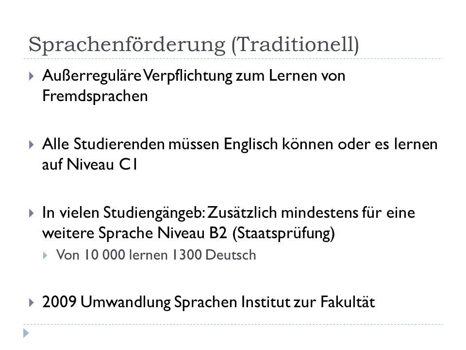 Sprachenförderung (Traditionell)  Außerreguläre Verpflichtung zum Lernen von Fremdsprachen  Alle Studierenden müssen Englisch können oder es lernen