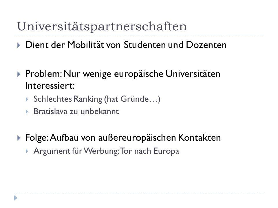 Universitätspartnerschaften  Dient der Mobilität von Studenten und Dozenten  Problem: Nur wenige europäische Universitäten Interessiert:  Schlechte