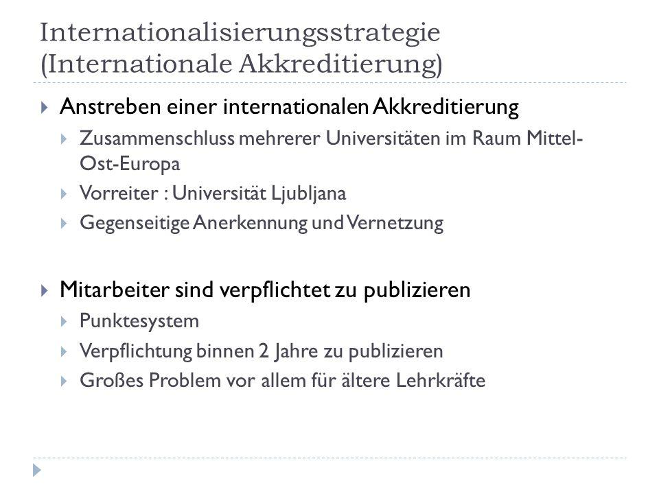 Internationalisierungsstrategie (Internationale Akkreditierung)  Anstreben einer internationalen Akkreditierung  Zusammenschluss mehrerer Universitä