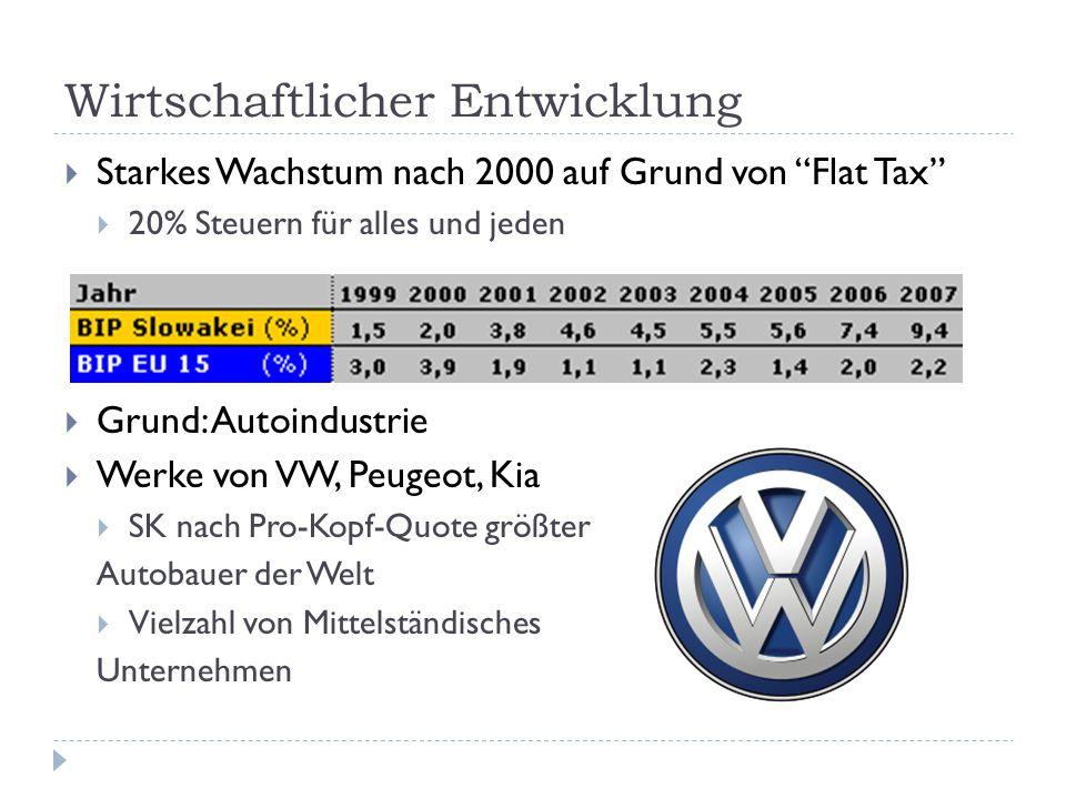 """Wirtschaftlicher Entwicklung  Starkes Wachstum nach 2000 auf Grund von """"Flat Tax""""  20% Steuern für alles und jeden  Grund: Autoindustrie  Werke vo"""