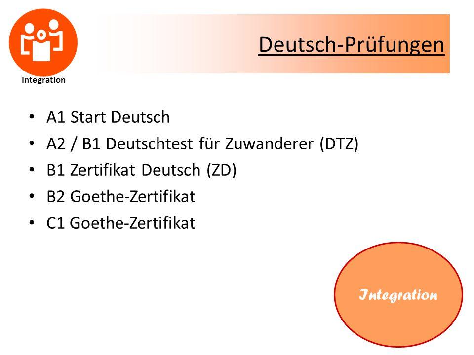 Deutsch-Prüfungen A1 Start Deutsch A2 / B1 Deutschtest für Zuwanderer (DTZ) B1 Zertifikat Deutsch (ZD) B2 Goethe-Zertifikat C1 Goethe-Zertifikat Integration