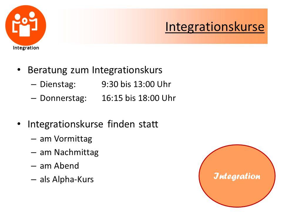 Integrationskurse Beratung zum Integrationskurs – Dienstag: 9:30 bis 13:00 Uhr – Donnerstag: 16:15 bis 18:00 Uhr Integrationskurse finden statt – am Vormittag – am Nachmittag – am Abend – als Alpha-Kurs Integration