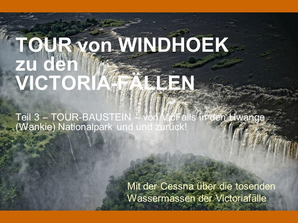 TOUR von WINDHOEK zu den VICTORIA-FÄLLEN Teil 3 – TOUR-BAUSTEIN – von VicFalls in den Hwange (Wankie) Nationalpark und und zurück! Mit der Cessna über