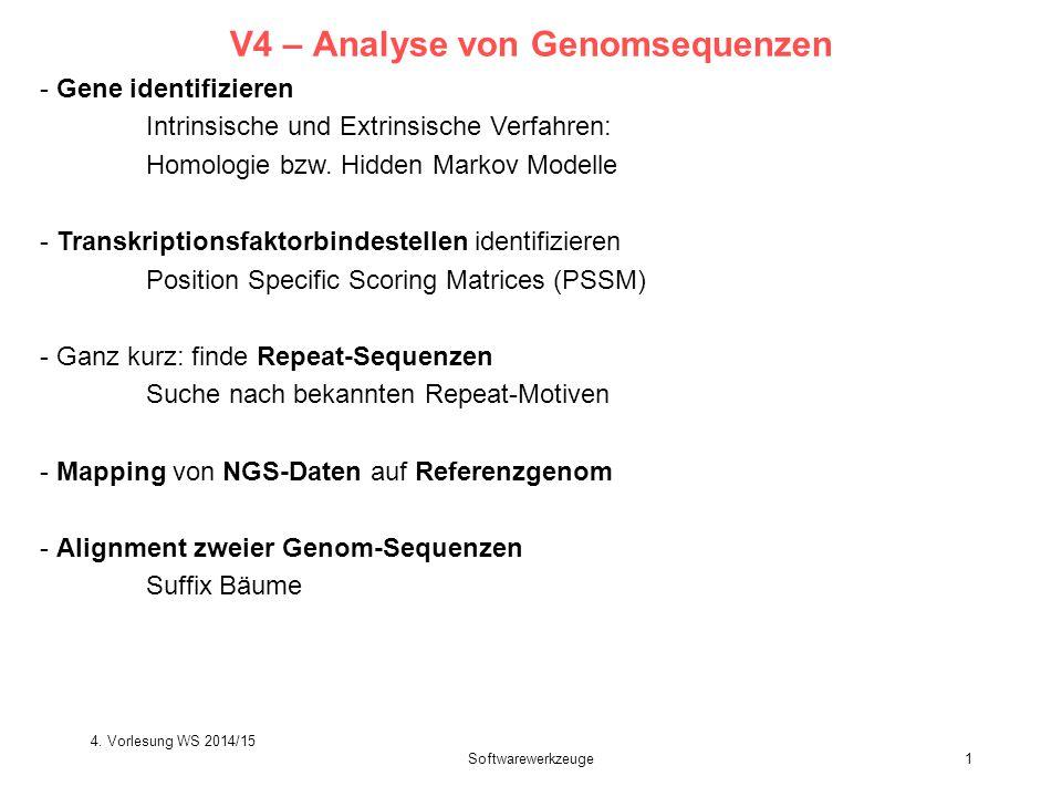 4. Vorlesung WS 2014/15 Softwarewerkzeuge1 V4 – Analyse von Genomsequenzen - Gene identifizieren Intrinsische und Extrinsische Verfahren: Homologie bz
