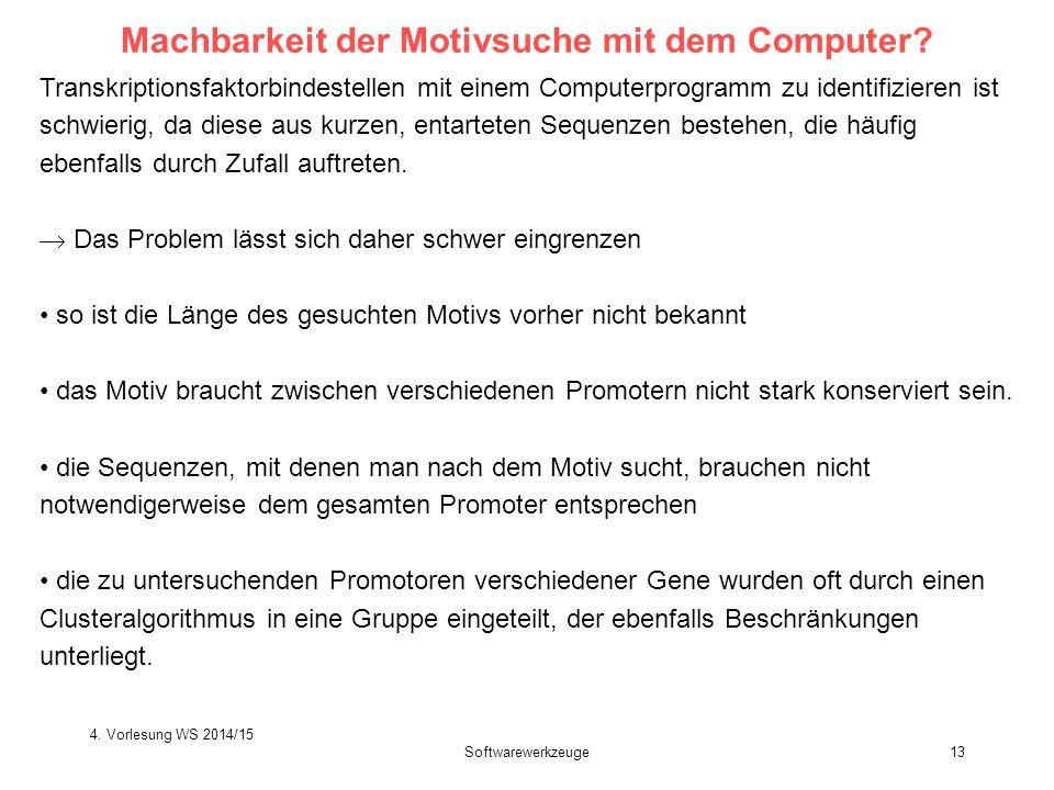 Softwarewerkzeuge13 Machbarkeit der Motivsuche mit dem Computer? Transkriptionsfaktorbindestellen mit einem Computerprogramm zu identifizieren ist sch