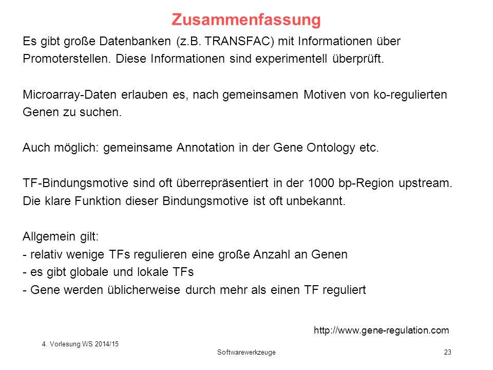 Softwarewerkzeuge23 Zusammenfassung http://www.gene-regulation.com Es gibt große Datenbanken (z.B. TRANSFAC) mit Informationen über Promoterstellen. D