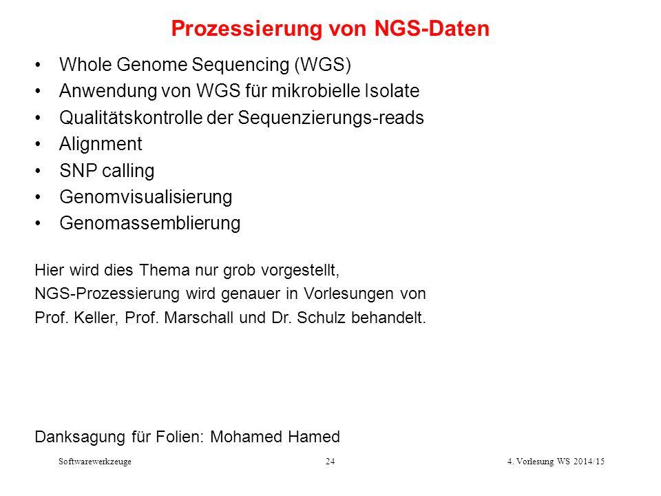 Softwarewerkzeuge24 Prozessierung von NGS-Daten Whole Genome Sequencing (WGS) Anwendung von WGS für mikrobielle Isolate Qualitätskontrolle der Sequenz
