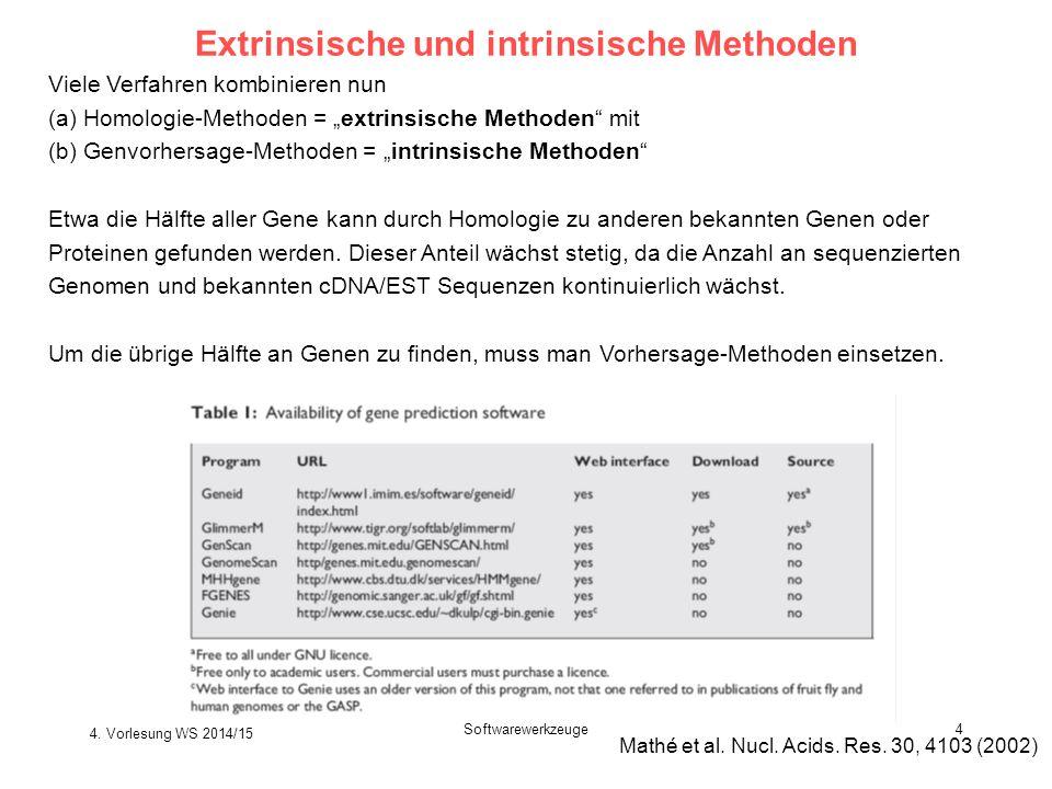 """Softwarewerkzeuge4 Extrinsische und intrinsische Methoden Viele Verfahren kombinieren nun (a) Homologie-Methoden = """"extrinsische Methoden"""" mit (b) Gen"""
