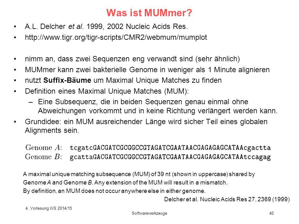 Softwarewerkzeuge40 Was ist MUMmer? A.L. Delcher et al. 1999, 2002 Nucleic Acids Res. http://www.tigr.org/tigr-scripts/CMR2/webmum/mumplot nimm an, da