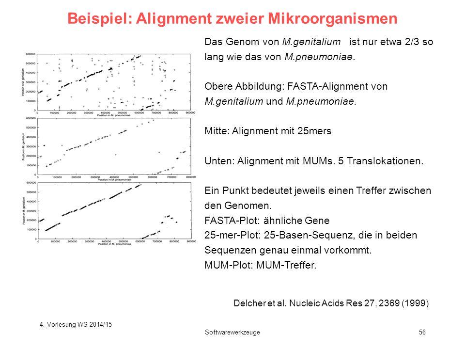 Softwarewerkzeuge56 Beispiel: Alignment zweier Mikroorganismen Delcher et al. Nucleic Acids Res 27, 2369 (1999) Das Genom von M.genitalium ist nur etw