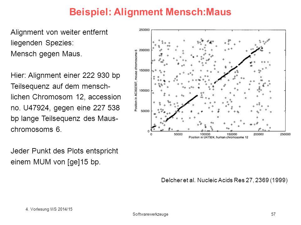 Softwarewerkzeuge57 Beispiel: Alignment Mensch:Maus Delcher et al. Nucleic Acids Res 27, 2369 (1999) Alignment von weiter entfernt liegenden Spezies: