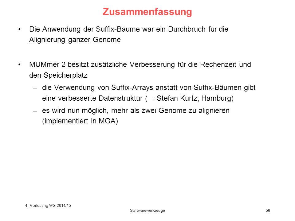 Softwarewerkzeuge58 Zusammenfassung Die Anwendung der Suffix-Bäume war ein Durchbruch für die Alignierung ganzer Genome MUMmer 2 besitzt zusätzliche V