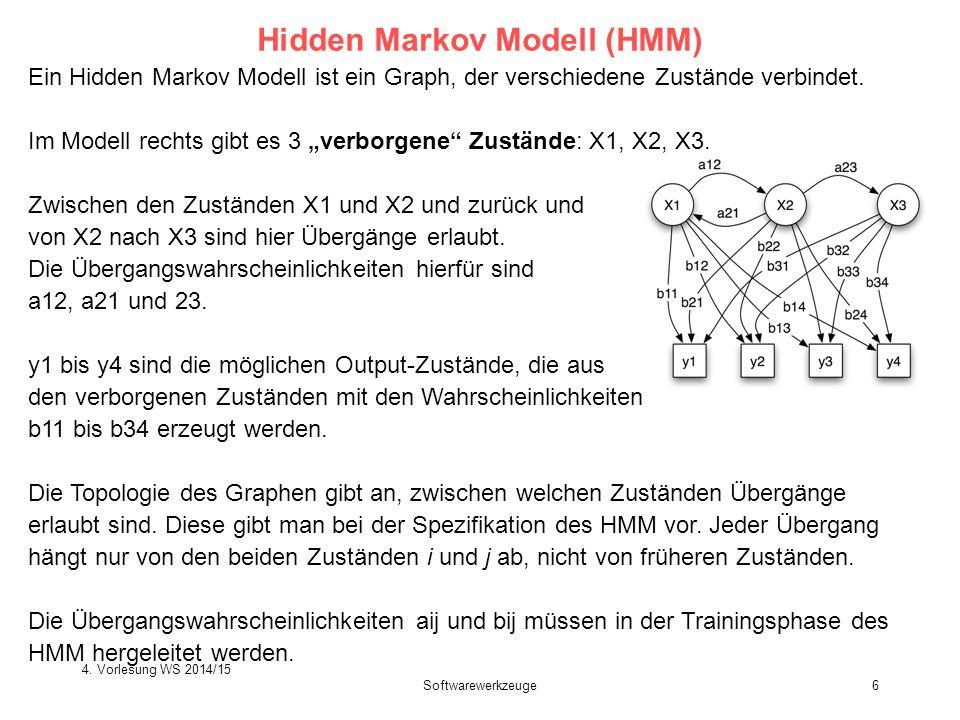 """Ein Hidden Markov Modell ist ein Graph, der verschiedene Zustände verbindet. Im Modell rechts gibt es 3 """"verborgene"""" Zustände: X1, X2, X3. Zwischen de"""