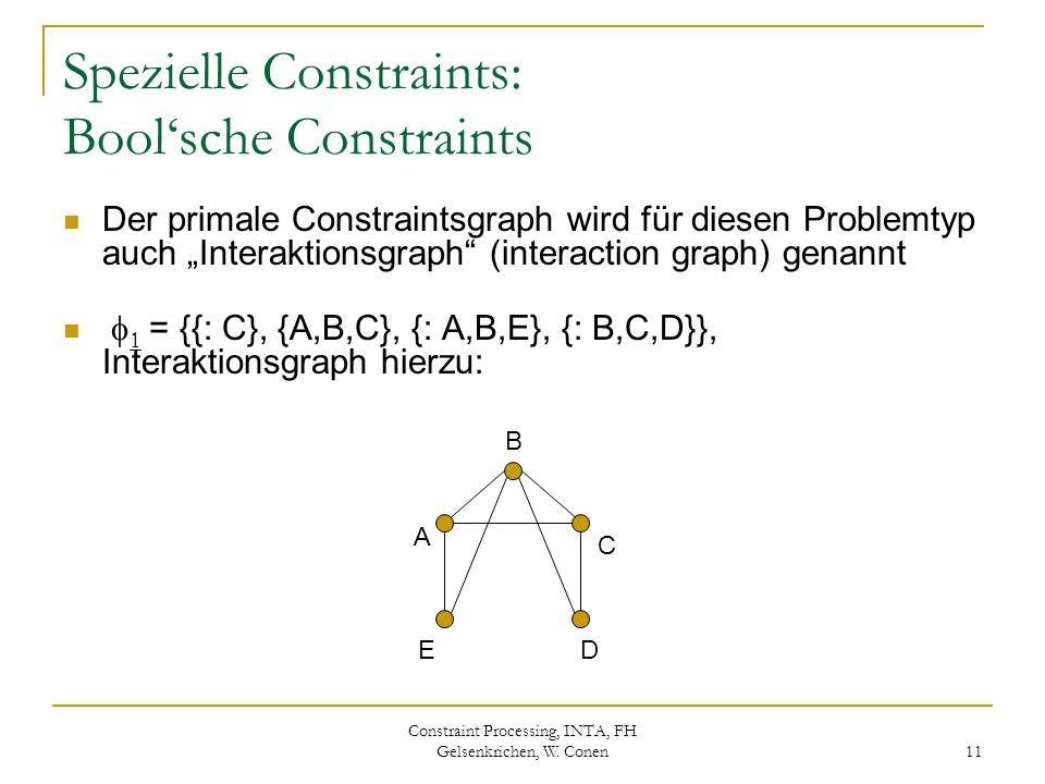Constraint Processing, INTA, FH Gelsenkrichen, W. Conen 11 Spezielle Constraints: Bool'sche Constraints Der primale Constraintsgraph wird für diesen P