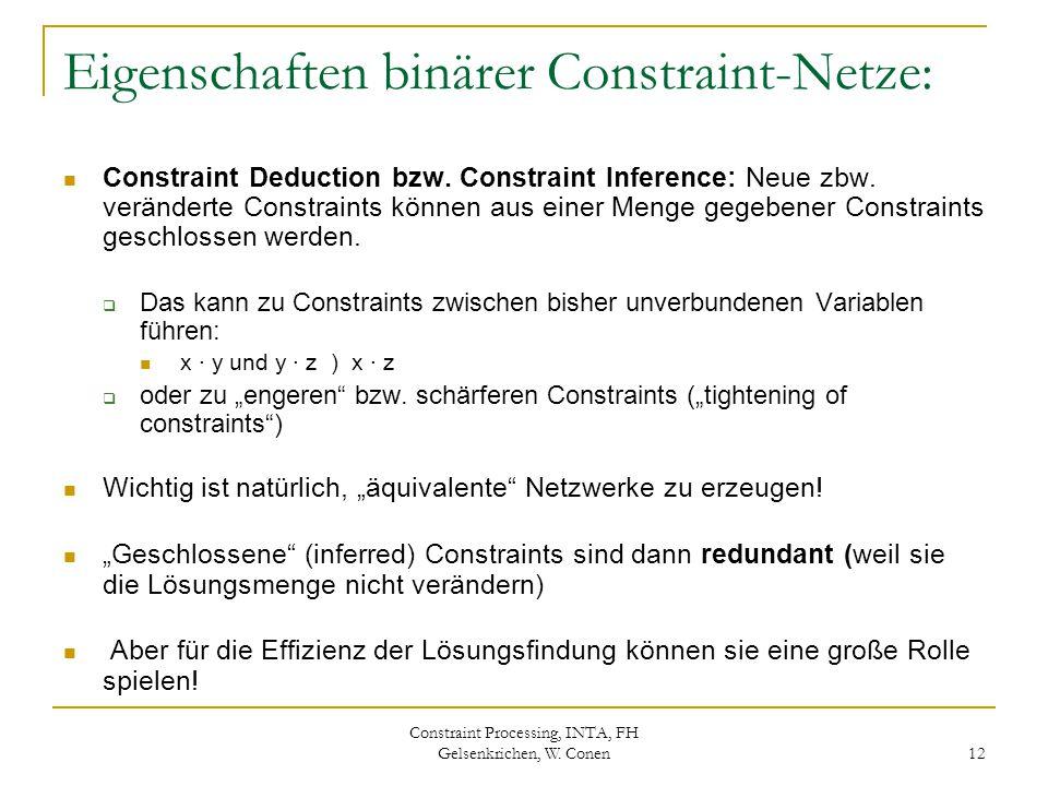 Constraint Processing, INTA, FH Gelsenkrichen, W. Conen 12 Eigenschaften binärer Constraint-Netze: Constraint Deduction bzw. Constraint Inference: Neu