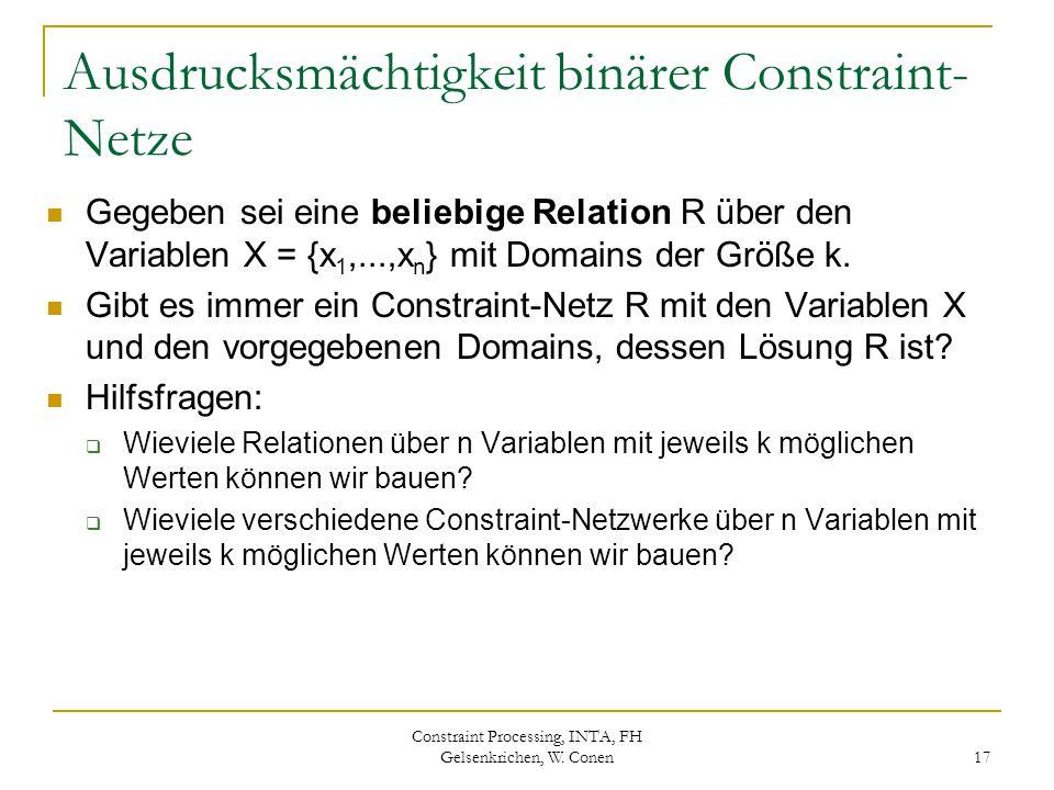 Constraint Processing, INTA, FH Gelsenkrichen, W. Conen 17 Ausdrucksmächtigkeit binärer Constraint- Netze Gegeben sei eine beliebige Relation R über d