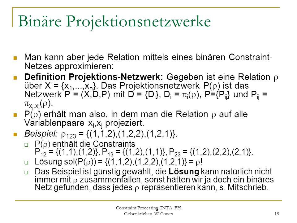 Constraint Processing, INTA, FH Gelsenkrichen, W. Conen 19 Binäre Projektionsnetzwerke Man kann aber jede Relation mittels eines binären Constraint- N