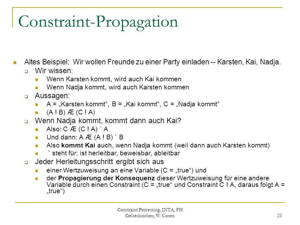 Constraint Processing, INTA, FH Gelsenkrichen, W. Conen 25 Constraint-Propagation Altes Beispiel: Wir wollen Freunde zu einer Party einladen -- Karste