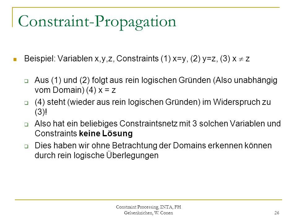 Constraint Processing, INTA, FH Gelsenkrichen, W. Conen 26 Constraint-Propagation Beispiel: Variablen x,y,z, Constraints (1) x=y, (2) y=z, (3) x  z 