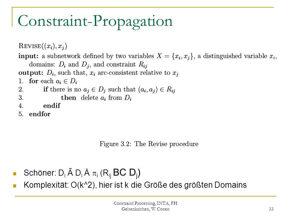 Constraint Processing, INTA, FH Gelsenkrichen, W. Conen 33 Constraint-Propagation Schöner: D i à D i Å  i (R ij BC D j ) Komplexität: O(k^2), hier is
