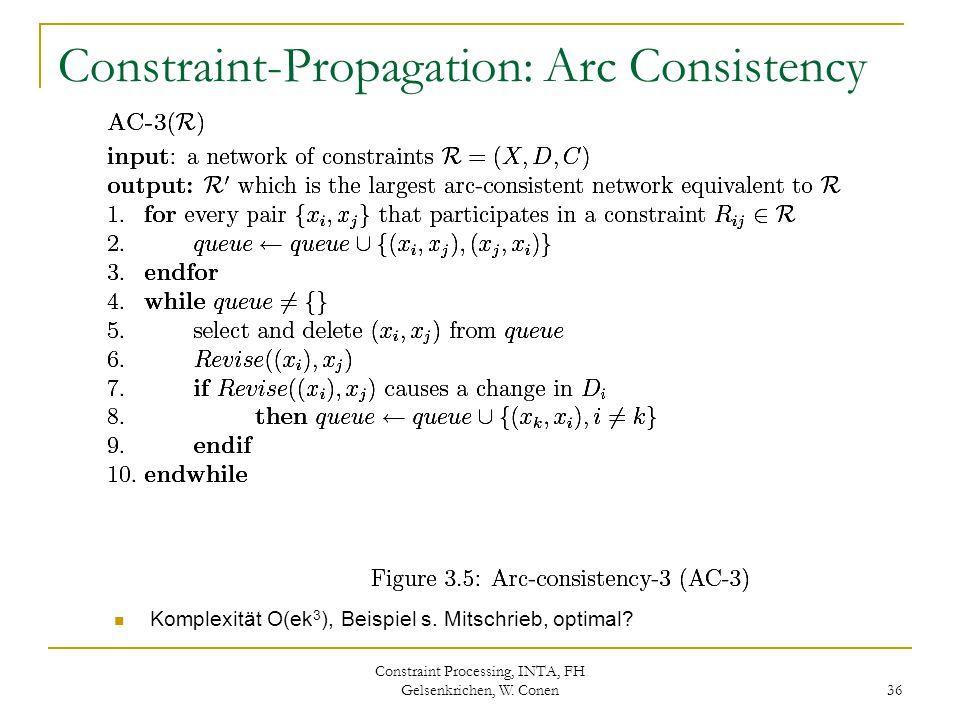 Constraint Processing, INTA, FH Gelsenkrichen, W. Conen 36 Constraint-Propagation: Arc Consistency Komplexität O(ek 3 ), Beispiel s. Mitschrieb, optim