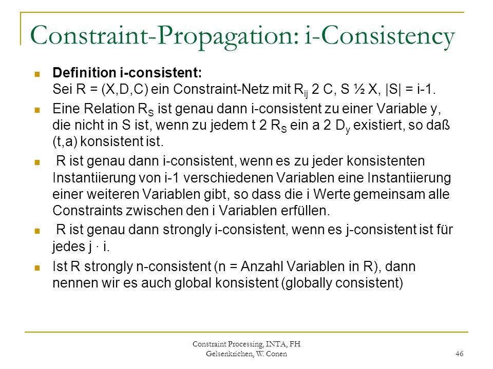 Constraint Processing, INTA, FH Gelsenkrichen, W. Conen 46 Constraint-Propagation: i-Consistency Definition i-consistent: Sei R = (X,D,C) ein Constrai