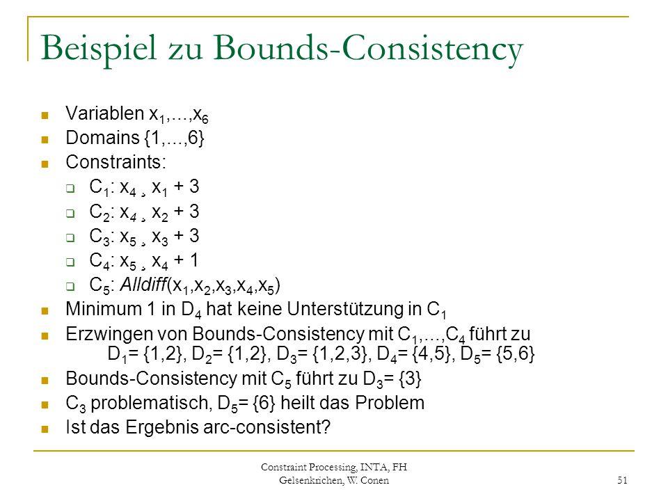 Constraint Processing, INTA, FH Gelsenkrichen, W. Conen 51 Beispiel zu Bounds-Consistency Variablen x 1,...,x 6 Domains {1,...,6} Constraints:  C 1 :