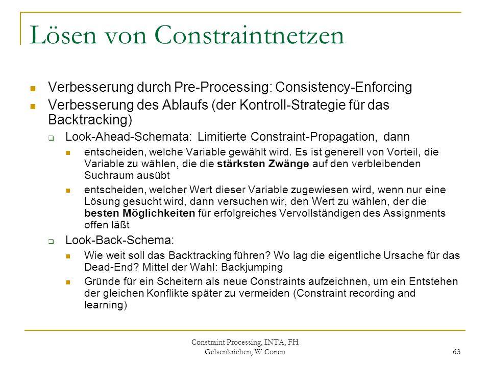 Constraint Processing, INTA, FH Gelsenkrichen, W. Conen 63 Lösen von Constraintnetzen Verbesserung durch Pre-Processing: Consistency-Enforcing Verbess