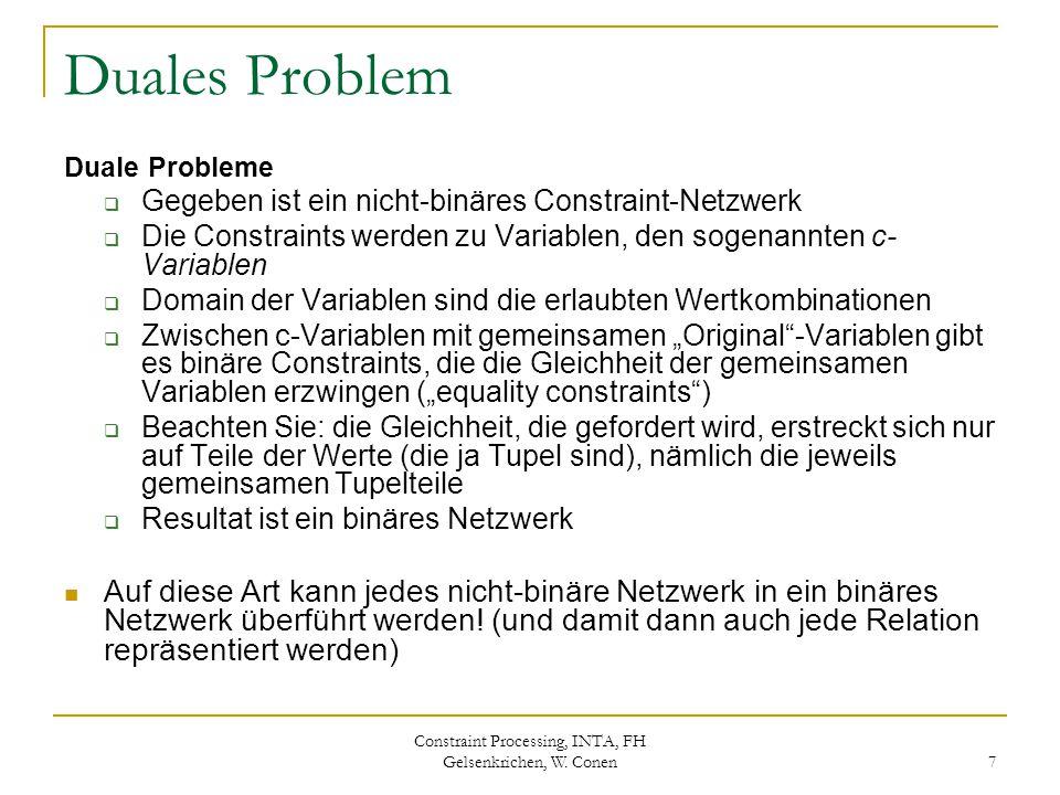 Constraint Processing, INTA, FH Gelsenkrichen, W. Conen 7 Duales Problem Duale Probleme  Gegeben ist ein nicht-binäres Constraint-Netzwerk  Die Cons