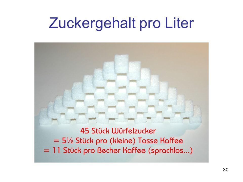 30 Zuckergehalt pro Liter