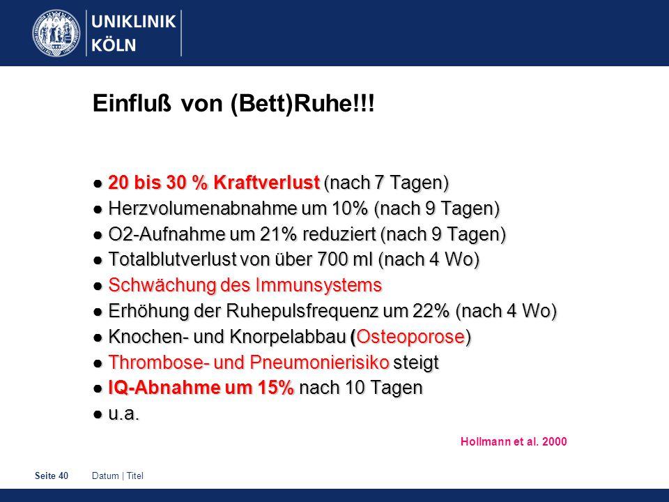 Datum   TitelSeite 40 Einfluß von (Bett)Ruhe!!.