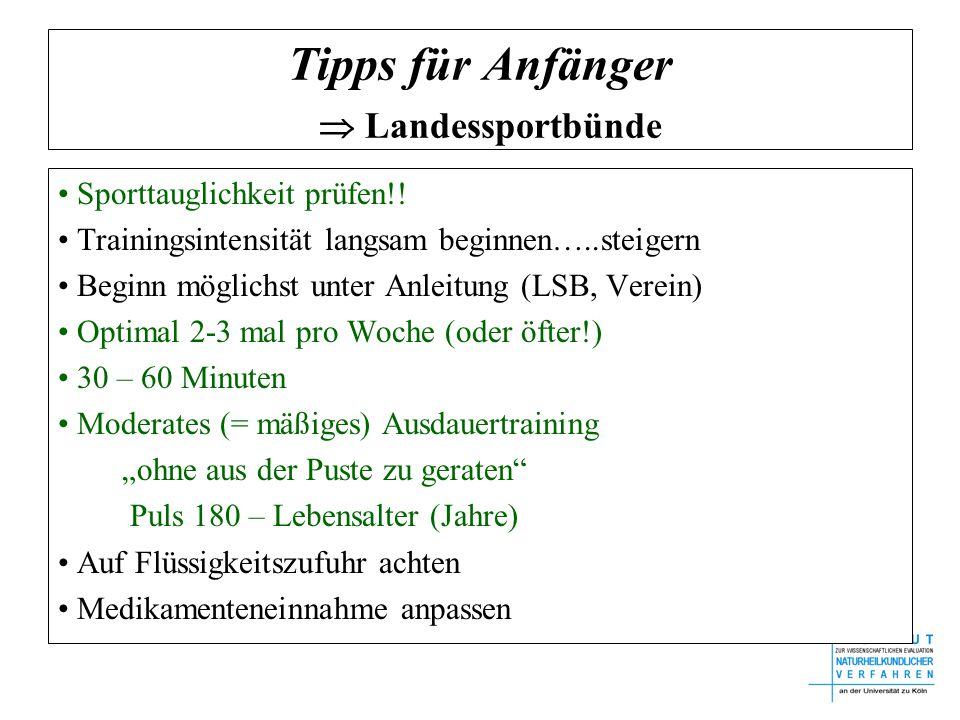 Tipps für Anfänger  Landessportbünde Sporttauglichkeit prüfen!.