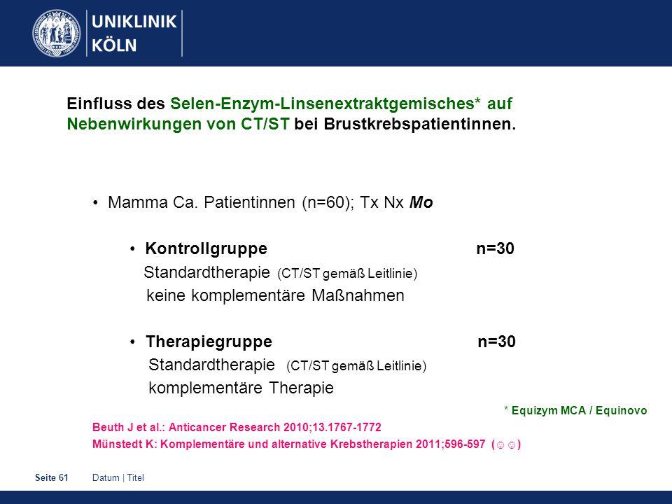 Datum   TitelSeite 61 Einfluss des Selen-Enzym-Linsenextraktgemisches* auf Nebenwirkungen von CT/ST bei Brustkrebspatientinnen.