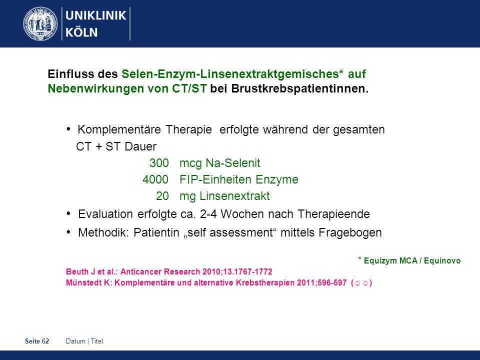 Datum   TitelSeite 62 Einfluss des Selen-Enzym-Linsenextraktgemisches* auf Nebenwirkungen von CT/ST bei Brustkrebspatientinnen.