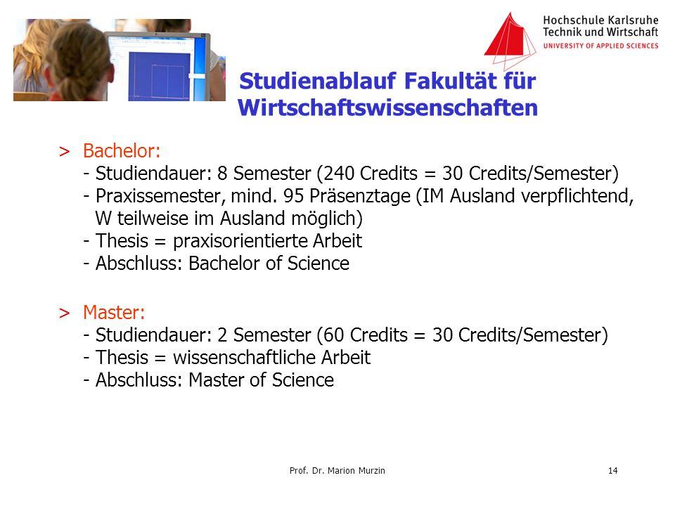 Prof. Dr. Marion Murzin >Bachelor: - Studiendauer: 8 Semester (240 Credits = 30 Credits/Semester) - Praxissemester, mind. 95 Präsenztage (IM Ausland v