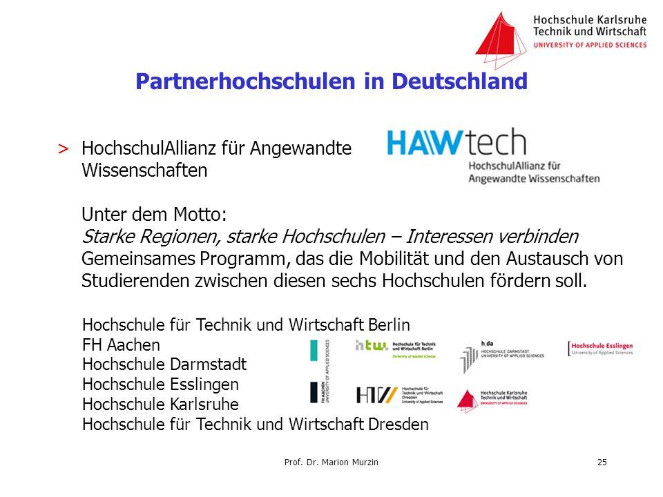 Prof. Dr. Marion Murzin Partnerhochschulen in Deutschland >HochschulAllianz für Angewandte Wissenschaften Unter dem Motto: Starke Regionen, starke Hoc