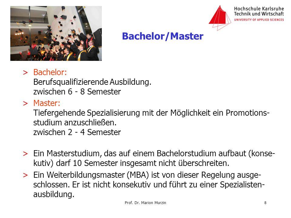 Prof. Dr. Marion Murzin >Bachelor: Berufsqualifizierende Ausbildung. zwischen 6 - 8 Semester >Master: Tiefergehende Spezialisierung mit der Möglichkei
