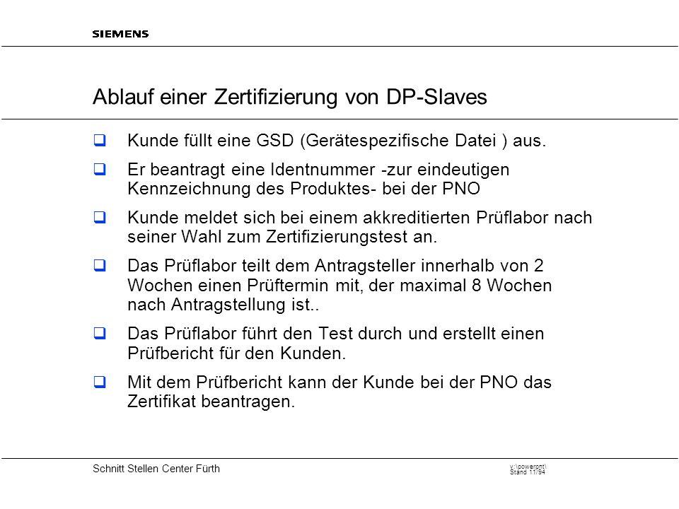 20 Schnitt Stellen Center Fürth v:\powerpnt\ Stand 11/94 Ablauf einer Zertifizierung von DP-Slaves  Kunde füllt eine GSD (Gerätespezifische Datei ) aus.