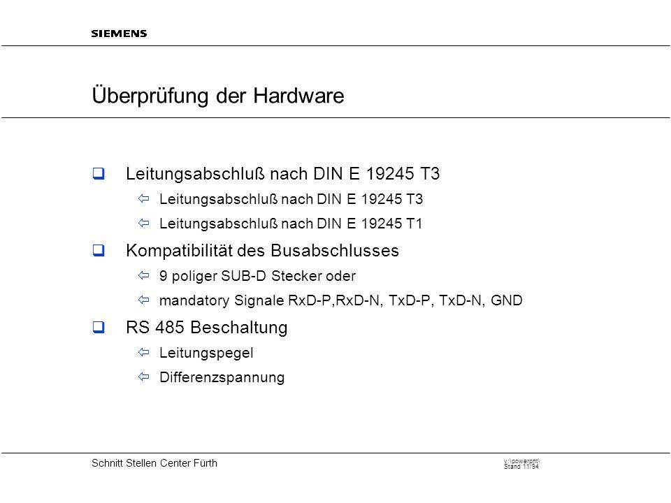 20 Schnitt Stellen Center Fürth v:\powerpnt\ Stand 11/94 Überprüfung der Hardware  Leitungsabschluß nach DIN E 19245 T3  Leitungsabschluß nach DIN E 19245 T3  Leitungsabschluß nach DIN E 19245 T1  Kompatibilität des Busabschlusses  9 poliger SUB-D Stecker oder  mandatory Signale RxD-P,RxD-N, TxD-P, TxD-N, GND  RS 485 Beschaltung  Leitungspegel  Differenzspannung